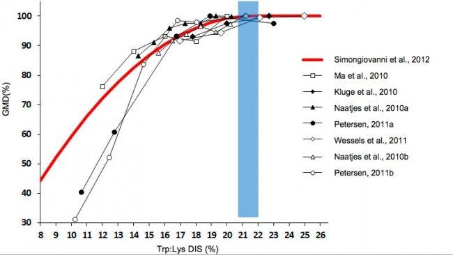 Efeito do rácio triptófano/lisina sobre o crescimento em leitões