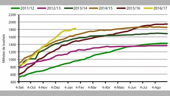Gráfico1. Volumesemanal de exportações de grão de soja EUA, campanha actual ecinco anteriores. Fonte: USDA.