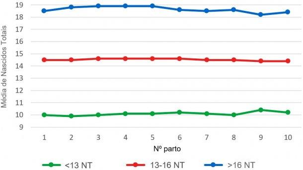 Gráfico4: Média de leitões nascidos totais (NT) segundo a ordemde parto para as ninhadas de menos de 13, entre 13 e16 ou mais de 16 leitões nascidos totais. A análisebaseia-se em93.896 partos de porcashiperprolíficas que ocorreram entre Outubro de 2014 eSetembro de 2016