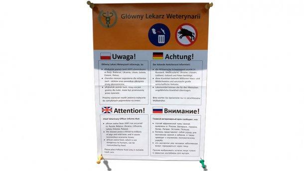 Mensagem, na Polónia, advertindo da ameaça dos javalis para a difusão da PSA. A ameaça de que a PSA se continue a estender ao resto daEuropa.