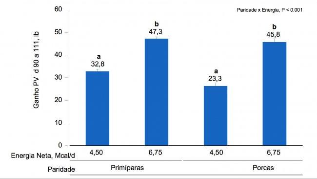 Figura 1B. Efeitos da alimentaçãocomdiferentes niveisde energiadesde odia90 ao dia 111 de gestação, noganho de PV de primíparaseporcas. As médias comumsuper-índice diferente dentro donível de paridade sãodiferentes(P <0,05).