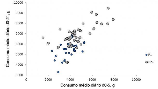 Ilustração 1.Relação entre o consumo médio diário da porca nos primeiros cinco dias de lactação e o consumo durante o resto da lactação.(Nutreco R & D, 2015)