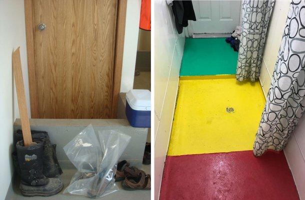 Esquerda: Separação de zonas dentro da exploração. O murete relembra os trabalhadores do local de mudança de calçado obrigatório entre a entrada da exploração (sujo) e a zona de duche. Foto cortesia do Dr. Tim Snider. Direita: Exemplo de separação de zonas dentro da zona de duche. Vermelho = Zona suja; Amarelo = Zona intermédia; Verde = Zona limpa. Foto cortesia de Mike Luyks, Kaslo Bay, centro de inseminação da PIC, Canadá.