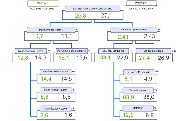 Figura 1. Árvore de produtividade de leitões desmamados/porca coberta e ano, comparação entre dois períodos.