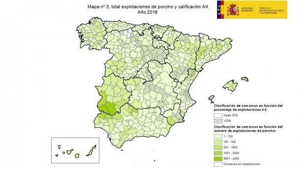Classificação de comarcas em função da percentagem de explorações oficialmente indemnes para a doença (A4).