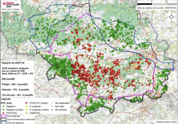 Mapa da distribuição de javalis em 29 de Julho de 2019