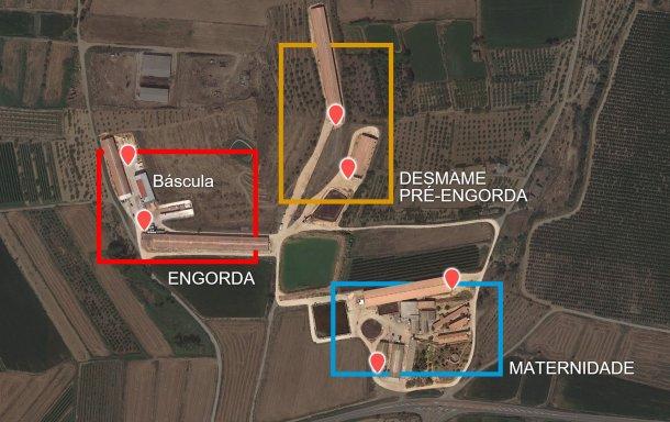 Imagem 2. Distribuição das fases por pavilhões e cais de carga originais (pontos vermelhos).