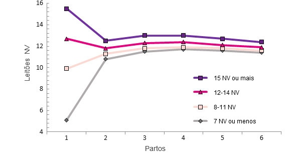Producción de la vida de la cerda en función de los lechones NV en el primer parto